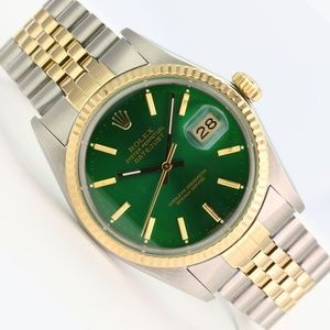 Rolex Mens Datejust 16013 Two-Tone Green Dial